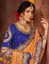 photo of Orange Color Festive Wear Art Silk Fabric Chic Embroidered Border Work Saree