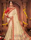 image of Festive Wear Art Silk Fabric Chic Embroidered Border Work Saree In Beige Color