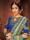 photo of Sea Green Color Festive Wear Chic Art Silk Fabric Embroidered Border Work Saree