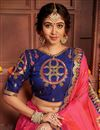 photo of Art Silk Fabric Chic Festive Wear Pink Color Embroidered Border Work Saree