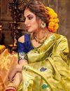 photo of Puja Wear Chic Art Silk Fabric Weaving Work Green Color Saree