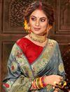 photo of Grey Color Puja Wear Art Silk Fabric Chic Weaving Work Saree