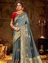 image of Grey Color Puja Wear Art Silk Fabric Chic Weaving Work Saree