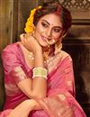 photo of Puja Wear Pink Color Chic Weaving Work Saree In Art Silk Fabric