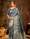 image of Puja Wear Art Silk Fabric Chic Grey Color Weaving Work Saree