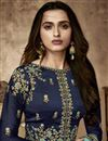 photo of Georgette Navy Blue Designer Wedding Wear Anarkali Suit With Fancy Dupatta