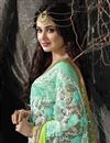 photo of Designer Festive Wear Green Color Saree With Embroidery Work On Chiffon Fabric Featuring Yuvika Chaudhary