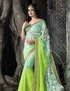 image of Designer Festive Wear Green Color Saree With Embroidery Work On Chiffon Fabric Featuring Yuvika Chaudhary