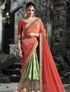 image of Georgette And Silk Festive Wear Green And Peach Color Embroidered Designer Saree Featuring Yuvika Chaudhary