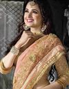 photo of Yuvika Chaudhary Featuring Peach Color Chiffon And Net Embroidered Party Wear Saree