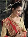 photo of Yuvika Chaudhary Featuring Embroidered Chiffon And Silk Party Wear Saree In Red And Beige Color With Unstitched Blouse