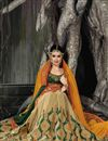 photo of Chiffon And Georgette Festive Wear Beige And Orange Color Embroidered Designer Saree Featuring Yuvika Chaudhary