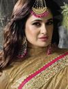 photo of Yuvika Chaudhary Featuring Orange And Beige Color Chiffon And Georgette Embroidered Party Wear Saree