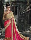 image of Yuvika Chaudhary Beige And Pink Color Designer Chiffon And Georgette Embroidered Party Wear Saree