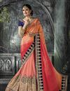 image of Yuvika Chaudhary Featuring Pink And Peach Color Embroidered Party Wear Chiffon And Net Saree