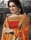 photo of Designer Festive Wear Orange Color Saree With Embroidery Work On Chinon And Chiffon Fabric Featuring Yuvika Chaudhary