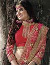photo of Yuvika Chaudhary Featuring Embroidered Chinon And Chiffon Party Wear Saree In Pink And Orange Color With Unstitched Blouse