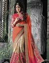 image of Yuvika Chaudhary Featuring Embroidered Chinon And Chiffon Party Wear Saree In Pink And Orange Color With Unstitched Blouse