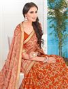 photo of Fancy Fabric Designer Saree In Orange Color With Border and Print Designs
