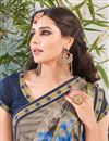 photo of Beige Color Designer Party Wear Fancy Fabric Saree With Unstitched Blouse