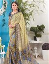 image of Beige Color Designer Party Wear Fancy Fabric Saree With Unstitched Blouse