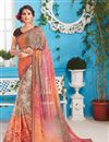 image of Orange And Brown Color Party Wear Fancy Fabric Saree With Print and Border Design
