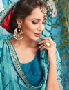 photo of Stunning Cyan Color Festive Wear Fancy Saree With Unstitched Blouse
