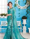 image of Stunning Cyan Color Festive Wear Fancy Saree With Unstitched Blouse