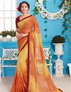 image of Fascinating Yellow And Orange Color Festive Wear Saree With Unstitched Blouse