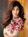 picture of Shilpa Shetty Cream Color Bollywood Replica Lehenga Choli in Satin Fabric