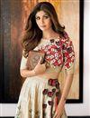 image of Cream Color Bollywood Replica Lehenga Choli by Shilpa Shetty in Satin Fabric