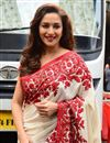 photo of Madhuri Dixit Inspired Cream Color Bollywood Replica Saree in Banglori Silk Fabric