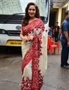 image of Madhuri Dixit Inspired Cream Color Bollywood Replica Saree in Banglori Silk Fabric