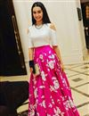 image of Shraddha Kapoor Inspired Bollywood Replica Lehenga Choli in Pink And Cream Color
