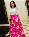 image of Bollywood Replica Pink And Cream Color Designer Lehenga Choli Inspired by Shraddha Kapoor