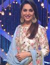 picture of Madhuri Dixit Silk Fabric Bollywood Replica Salwar Suit in Off White Color