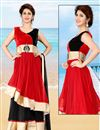 image of Red-Black Double Flair Net Gown-1001