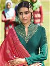 photo of Georgette Satin Designer Sangeet Wear Embroidered Teal Sharara Top Lehenga