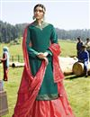 image of Georgette Satin Designer Sangeet Wear Embroidered Teal Sharara Top Lehenga