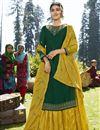 image of Designer Dark Green Embroidered Sangeet Wear Sharara Top Lehenga In Georgette Satin