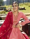 photo of Georgette Satin Designer Sangeet Wear Pink Embroidered Sharara Top Lehenga