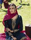 photo of Designer Sangeet Wear Georgette Satin Embroidered Sharara Top Lehenga In Navy Blue