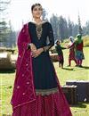 image of Designer Sangeet Wear Georgette Satin Embroidered Sharara Top Lehenga In Navy Blue