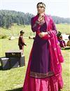 image of Purple Embroidered Designer Sangeet Wear Sharara Top Lehenga In Georgette Satin