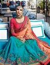 picture of Sangeet Wear Art Silk Cyan Designer Embellished Saree