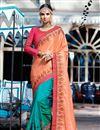 image of Sangeet Wear Art Silk Cyan Designer Embellished Saree