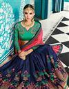 picture of Wedding Wear Designer Embroidered Saree In Navy Blue Art Silk