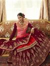 photo of Designer Pink Color Embroidered Sangeet Wear Sharara Top Lehenga In Georgette Satin Fabric