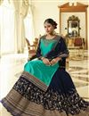 photo of Georgette Satin Fabric Designer Sangeet Wear Cyan Color Embroidered Sharara Top Lehenga