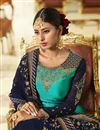 picture of Georgette Satin Fabric Designer Sangeet Wear Cyan Color Embroidered Sharara Top Lehenga